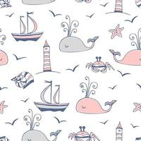 thème marin avec des navires et des baleines.