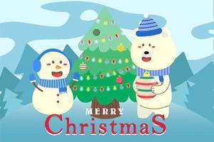 joyeux noël fond avec ours polaire et bonhomme de neige vecteur