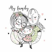 famille heureuse. mère père et fille.