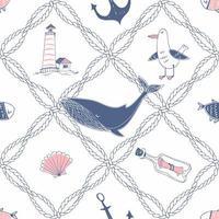 thème marin avec des cordes de mer, baleines et goélands vecteur