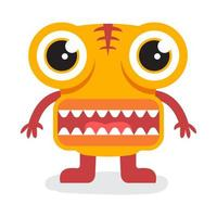 mignon monstre halloween jaune avec grande bouche vecteur