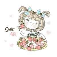 mignonne petite fille mangeant des fraises. vecteur