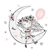 fille avec un ballon assis sur la lune. vecteur