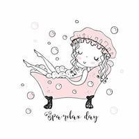 jolie petite fille prend un bain moussant.