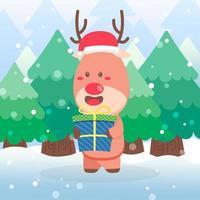 joli personnage de Noël renne tenant un cadeau