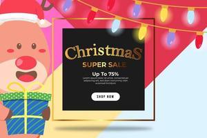 Super vente de bannière de Noël jusqu'à 75 pour cent