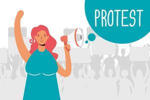 femme, protester, à, mégaphone, caractère vecteur