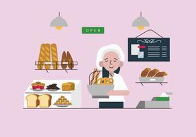 Boulangerie, vecteur, plat, Illustration vecteur