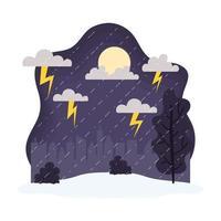 paysage pluvieux et orageux, scène météorologique et climatique vecteur
