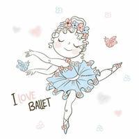 une jolie petite ballerine dans un tutu danse vecteur
