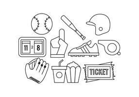 Vecteur de l'icône de ligne de softball gratuit