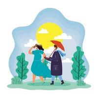 couple avec des masques faciaux à l'extérieur au printemps
