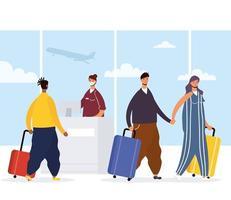 voyageurs interraciaux s'enregistrant à l'aéroport