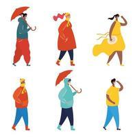 personnes avec des masques faciaux sur le jeu de caractères de profil