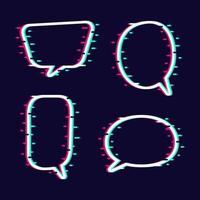 ensemble de bulles de dialogue effet glitch vecteur
