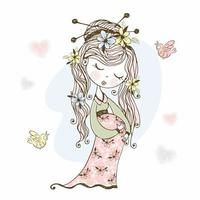 fille enceinte avec des fleurs dans ses cheveux. vecteur