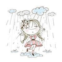 une petite fille mignonne traverse des flaques d'eau vecteur