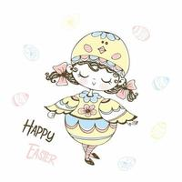 jolie petite fille dans un costume de poulet de pâques vecteur