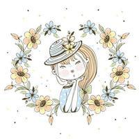 jolie fille dans un cadre de fleurs.