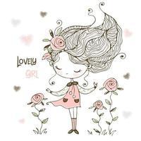 belle est une petite fille avec des fleurs vecteur