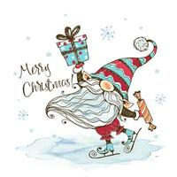 un joli gnome nordique avec des cadeaux vecteur