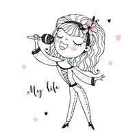 jolie fille chante une chanson dans le microphone