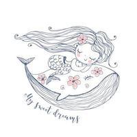 jolie petite sirène qui dort doucement sur une baleine