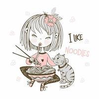 mignonne petite fille mangeant des nouilles de baguettes. vecteur