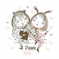 filles s'amusant à une soirée pyjama vecteur