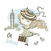 jolie fille avec une valise à Londres vecteur