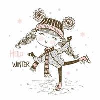 jolie fille dans un chapeau tricoté patinage
