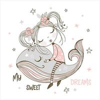jolie fille dormant doucement sur une baleine magique vecteur