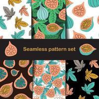 motif de figues et de feuilles dans un style dessiné à la main vecteur