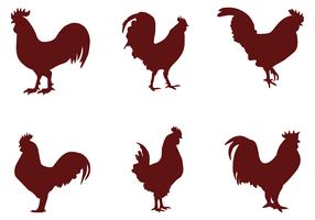 Vecteurs de coq de silhouette vecteur