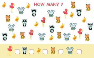 combien de page de feuille de calcul avec des animaux en style cartoon