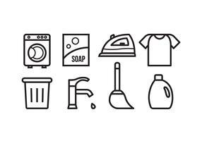 Icônes gratuites de nettoyage des tâches ménagères vecteur