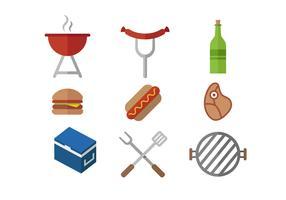 Icône d'ensemble de barbecue de nourriture de vacances vecteur