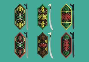 Collection de vecteur de motif et d'arme tribal de bouclier de Dayak