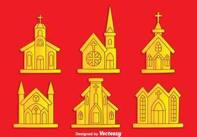 Collection Abbaye sur le vecteur de fond rouge