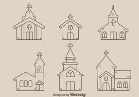 Croquis, abbaye, collection, vecteur