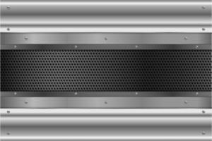 panneaux argentés avec vis sur texture perforée