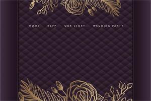 page de destination de mariage floral doré avec rembourrage violet