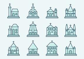 Abbaye et icônes de l'église vecteur