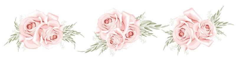 ensemble de bouquet de roses aquarelle