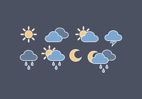 Icônes météo vecteur contour