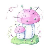 champignon de dessin animé aquarelle avec fil et aiguilles à coudre