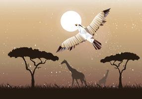 Flying Buzzard Low Poly Illustration Vecteur
