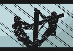 illustration vectorielle de lineman silhouette vecteur