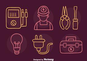 Croquis Lineman Icons Vector