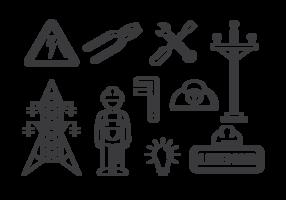 vecteur d'icônes de lineman